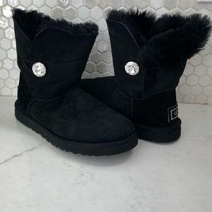 Ugg Boot Short Bling Bailey Button Sz 10 Black